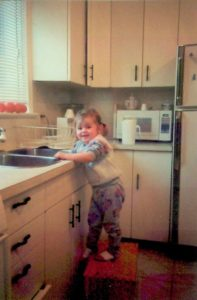 In the kitchen at the ripe age of 2 years.