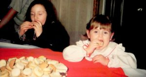 Me in my natural habitat- stuffing my face with cookies. Date: 1997